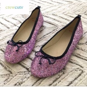 NWOB Crewcuts Girls purple glitter ballet flats 2